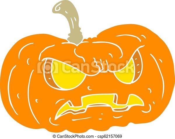 Plat Couleur Halloween Illustration Dessin Anime Citrouille
