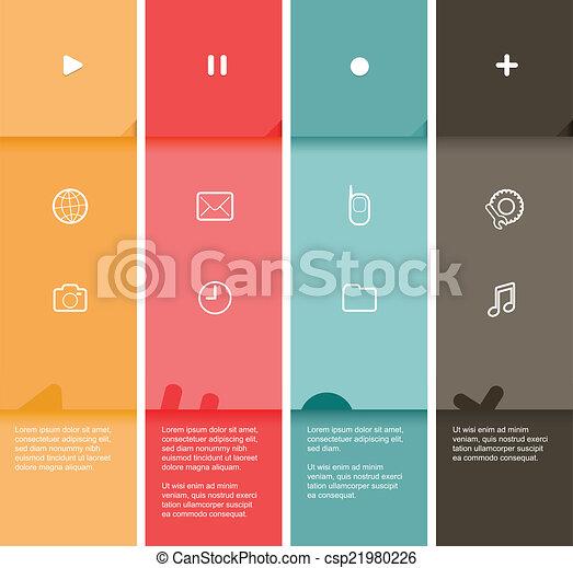 plat, couleur, -, raies, illustration, vecteur, conception, 4, gabarit - csp21980226