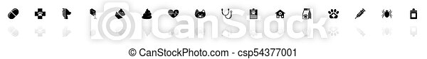 plat, dierenarts, iconen, aanhalen, -, vector - csp54377001