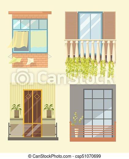 Plat Different Icones Fenetres Maison Decor Stlyes Vecteur Exterieur Balcon