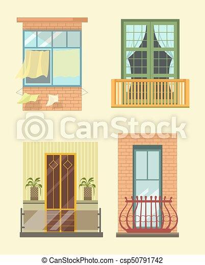 plat, différent, icônes, fenetres, maison, décor, stlyes, vecteur,  extérieur, balcon