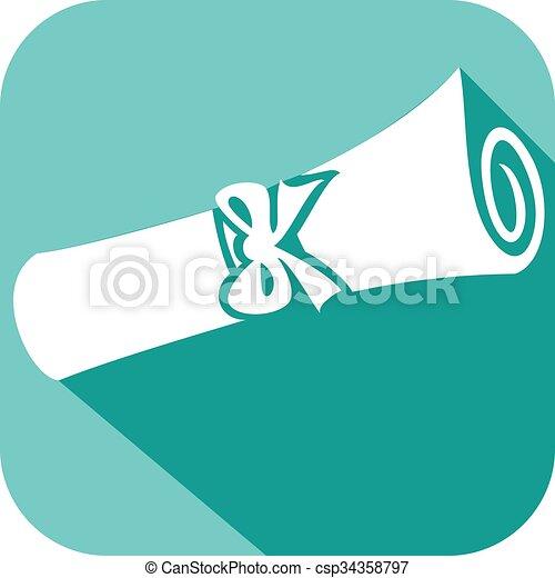 plat, diplôme, icône - csp34358797