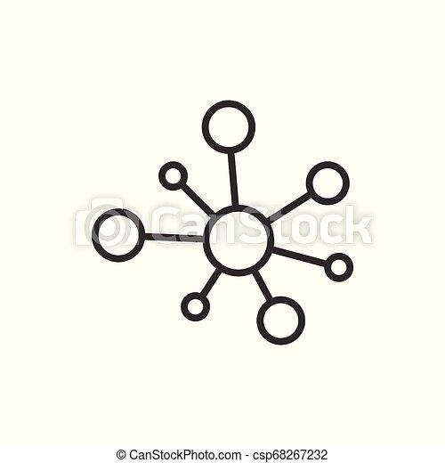 plat, dna, netwerk, hub, concept., molecule, vrijstaand, illustratie, meldingsbord, zakelijk, achtergrond., verbinding, vector, atoom, witte , style., pictogram - csp68267232
