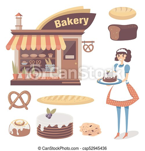 Dessin Boulangerie plat, ensemble, boulanger, character., magasin, isolé, bâtiment