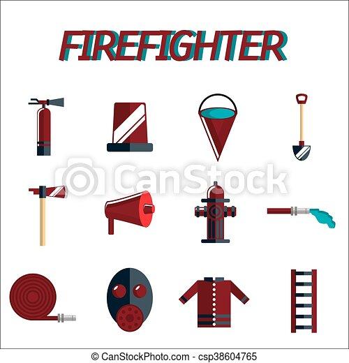 plat, ensemble, pompier, icône - csp38604765