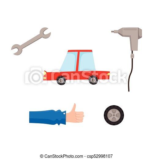 plat, ensemble, service, voiture, icônes, vecteur, entretien - csp52998107