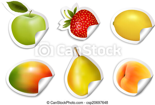 plat, ensemble, stickers., vector., fruit - csp20697648