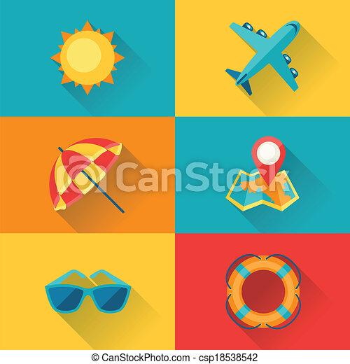 plat, ensemble, voyage, conception, tourisme, style., icône - csp18538542