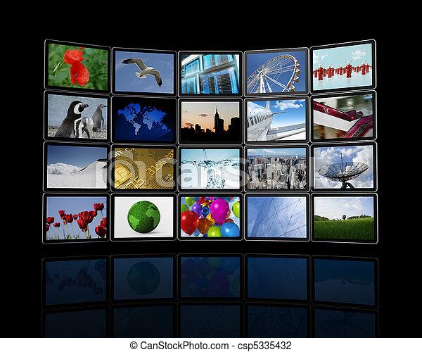plat, fait, mur, écrans, tv, vidéo - csp5335432