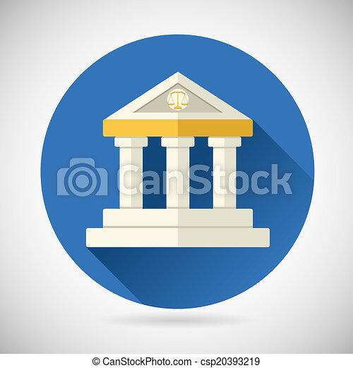 plat, financiën, kennis, woning, justitie, museum, moderne, geschiedenis, illustratie, symbool, vector, ontwerp, achtergrond, versieren, modieus, wet, of, bank, pictogram - csp20393219