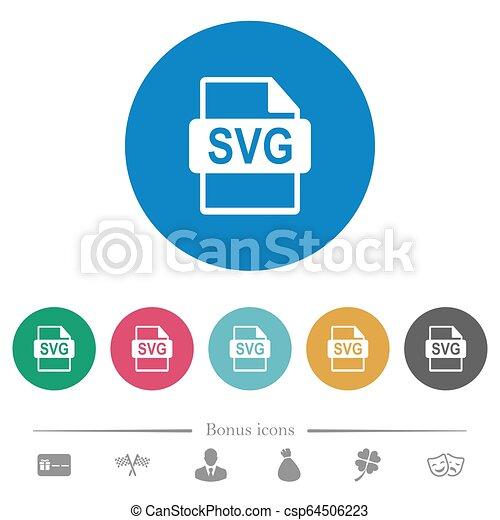 plat, formaat, svg, iconen, bestand, ronde - csp64506223