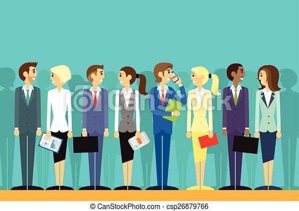 plat, groep, zakenlui, vector, menselijke hulpbronnen - csp26879766