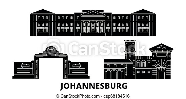 plat, horizon, vues, illustration, voyage, landmarks., symbole, johannesburg, vecteur, noir, afrique, ville, sud, set. - csp68184516
