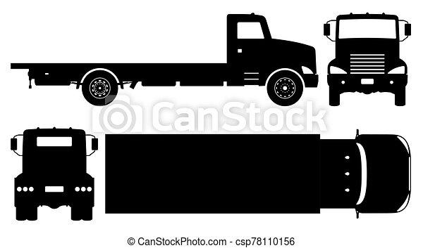 plat, icônes, camion, vecteur, illustration, noir - csp78110156