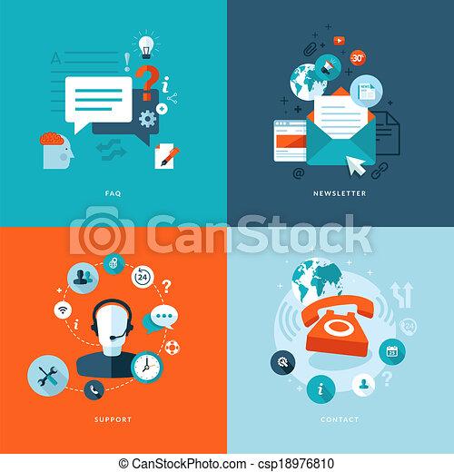 plat, icônes, toile, communications - csp18976810