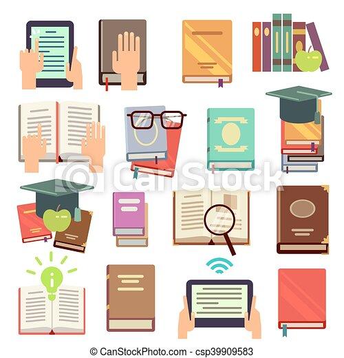 plat, iconen, vector, boekjes , lezende , bibliotheek - csp39909583