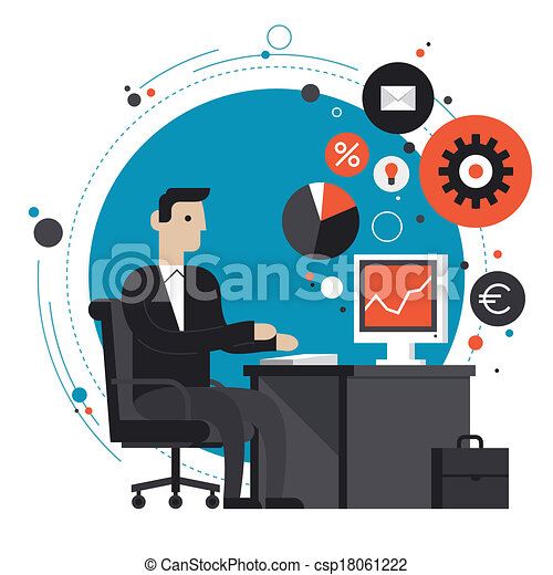 plat, illustratie, kantoor, zakenman - csp18061222