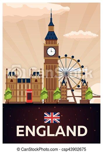 plat, illustration., affiche, voyage, england., vecteur - csp43902675