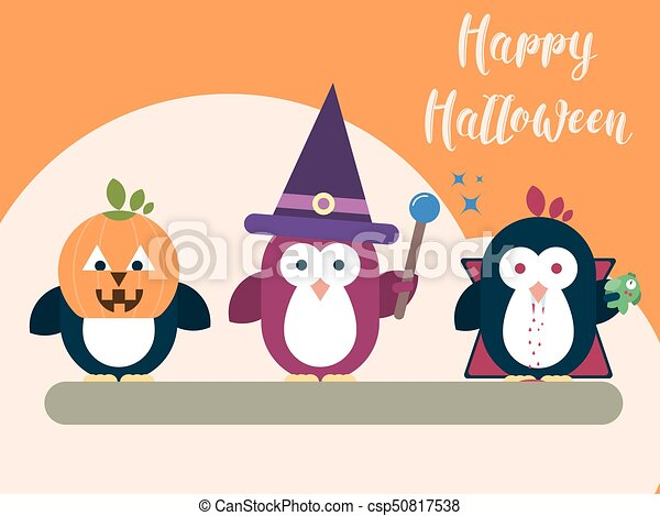 plat, illustration., moderne, halloween, stylisé, characters., gabarit, carte, manchots - csp50817538