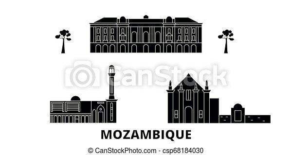 plat, illustration, voyage, landmarks., symbole, horizon, vecteur, noir, vues, mozambique, ville, set. - csp68184030