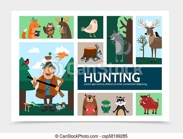 plat, infographic, chasse, gabarit - csp58199285