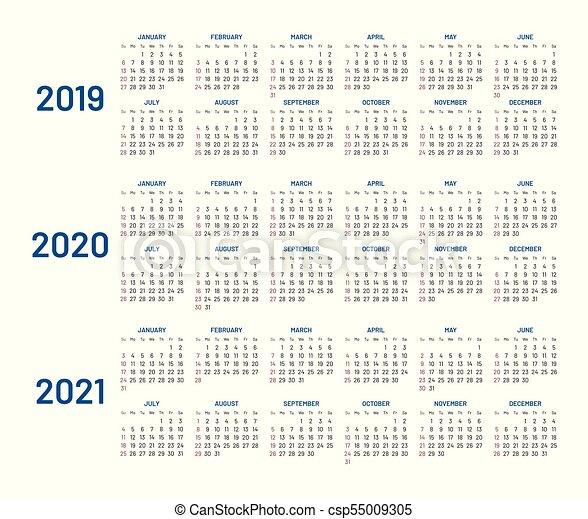 Calendrier Mensuel 2020 2019.Plat Isole Trois Annees Calendrier 2019 2020 2021