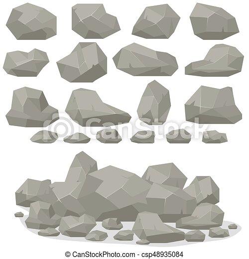 Plat isom trique ensemble pierre diff rent rocher dessin anim style 3d pierres plat - Rocher dessin ...