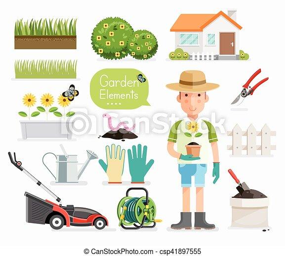 Plat jardinage jardin equipment illustration vecteur for Dessin outils jardinage