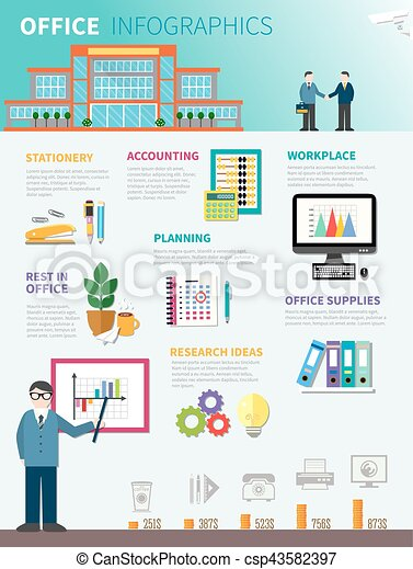plat, kantoor, mal, infographics - csp43582397
