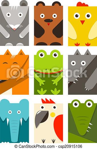 plat, kinderachtig, set, dieren, rechthoekig - csp20915106