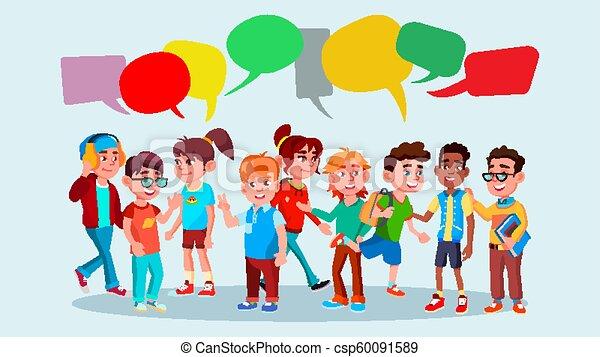 plat, lifestyle., groep, leerlingen, bubble., communicatie, school., race., bubbles., teamwork., illustratie, praatje, message., malen, vermalen, spotprent, vector. - csp60091589