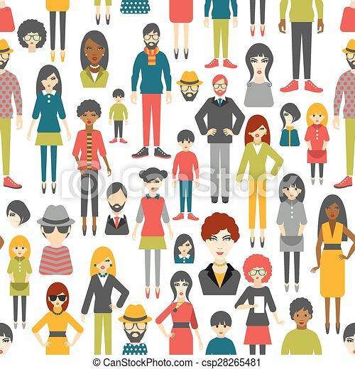 plat, mensen, pattern., seamless, achtergrond., cijfers. - csp28265481