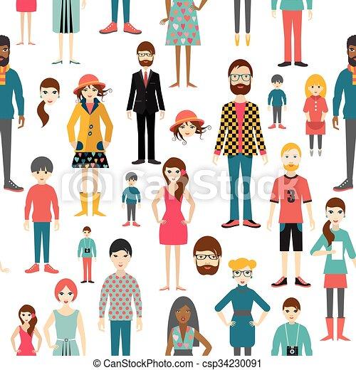 plat, mensen, pattern., seamless, achtergrond., cijfers. - csp34230091