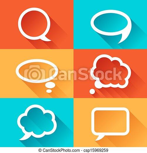 plat, mettez stylique, parole, bulles, style. - csp15969259