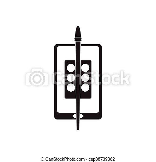 plat, mobile, app, noir, blanc, icône - csp38739362