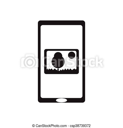 plat, mobile, app, noir, blanc, icône - csp38739372