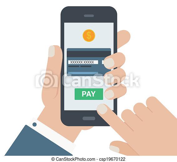 plat, mobile, isolé, main, conception, fond, paiement - csp19670122