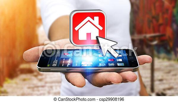 plat, mobile, moderne, téléphone, loyer, homme affaires, utilisation - csp29908196