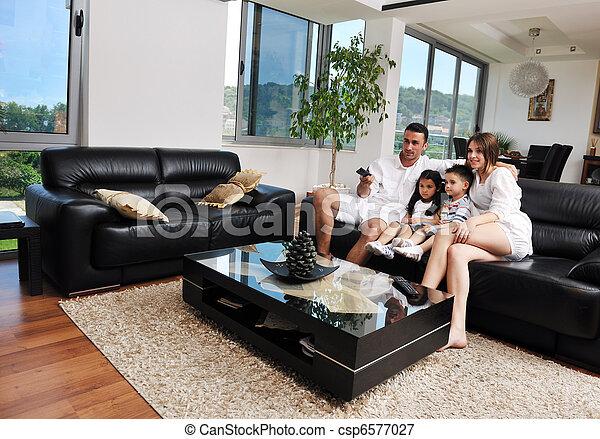 plat, moderne, famille, tv, intérieur, maison, wathching