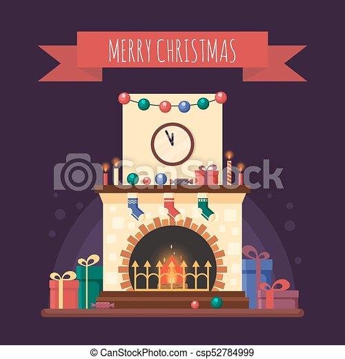 Plat Noel Colore Horloge Fete Salutation Illustration Decoration Noel Vecteur Candle Dons Interieur Maison Cheminee Style Carte