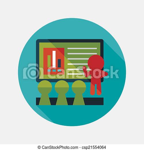 plat, ombre, business, long, atelier, orateur, icône - csp21554064