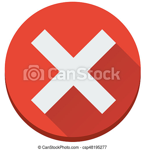 plat, onafgewerkt, fout, kruis, vector, onjuist, rood, pictogram - csp48195277