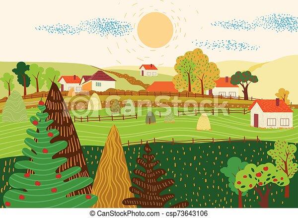plat, paysage, village, dessin animé, coloré - csp73643106