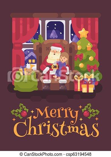 plat, peu, sien, confortable, salutation, séance, claus, caractère, ear., illustration, noël, santa, chuchotement, chaise, recouvrement, girl, carte, salle - csp63194548