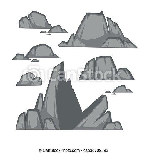 Plat pierre ensemble diff rent style boulders - Dessin rocher ...
