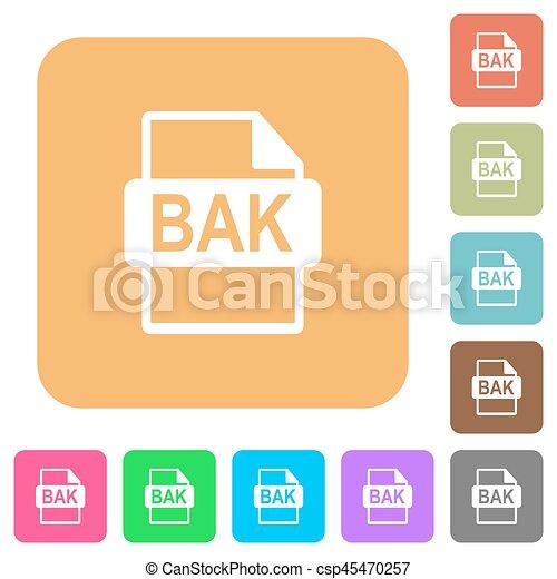 plat, plein, afgerond, iconen, formaat, bestand, bak - csp45470257