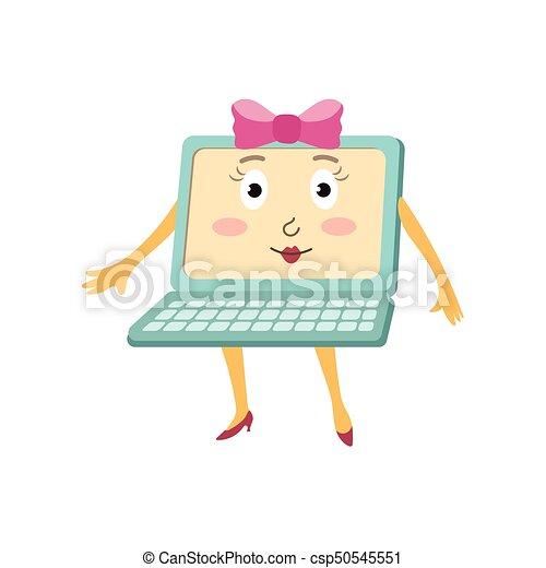 plat, rigolote, ordinateur portable, caractère, arc, vecteur, femme