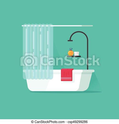 Plat salle bains illustration douche bain vecteur baignoire dessin anim vide - Email de baignoire abime ...