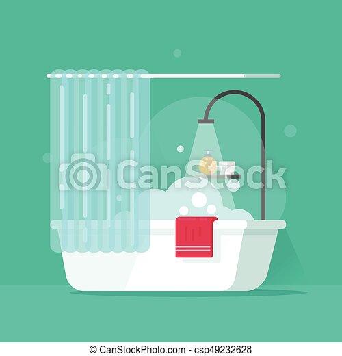 plat salle bains illustration mousse eau bain douche illustration vectorielle. Black Bedroom Furniture Sets. Home Design Ideas