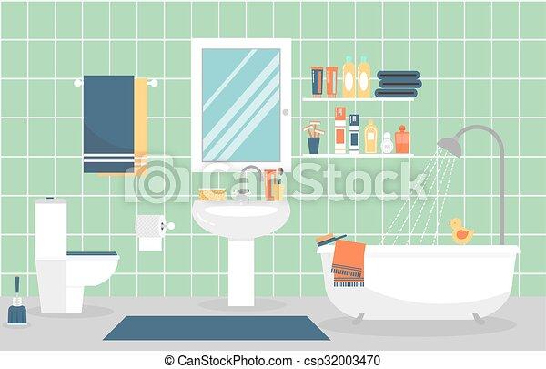 plat, salle bains, moderne, illustration, vecteur, intérieur, style.,  meubles